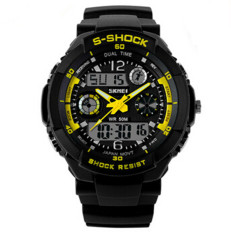 SKMEI Luxury Brand Men Military Sports Watches Digital LED Quartz Wristwatches Yellow (Intl)