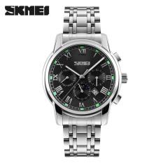 SKMEI Luxury Brand Stainless Steel Strap Analog Display Date Moon Phase Men's Quartz Watch Casual Watch Waterproof Men Watches (Black)