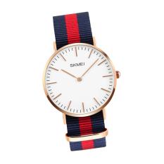 SKMEI Men Fashion Casual Watches Luxury Brand Men's Quartz Watch Relogio Masculino Mens Nylon Strap 30M Waterproof Wristwatches 1181 (Red + Blue)