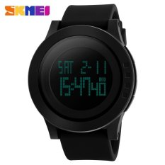 SKMEI Men Military Sports Watches Fashion Silicone Waterproof LED Digital Watch Men Clock - Black - intl