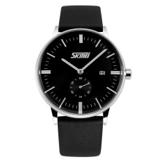 Skmei Men's Leather Strap Watch -Black 9083