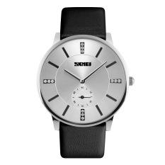 SKMEI Men's Luxury Business Ultra Slim Leather Band Analog Quartz Watch (Black) (Intl)