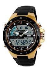 SKMEI Men's Sport Double Time Zone Digital Quartz LED Waterproof Watches (Golden) - Intl