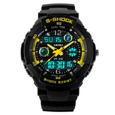 SKMEI Men's Sport LED Waterproof Rubber Strap Wrist Watch - Yellow 0931