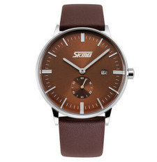 SKMEI New Style Genuine Leather Band Analog Display Date Men's Quartz Watch Brown (Intl)