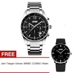 SKMEI Seize 9096CS Jam Tangan Pria - Hitam - Rantai Stainless Steel - Black Edition + Free + Free Jam Tangan Unisex SKMEI Cosmo 9083 Hitam