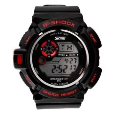 Skmei Unisex Black Rubber Starp Sport Wrist Watch + Red 0939