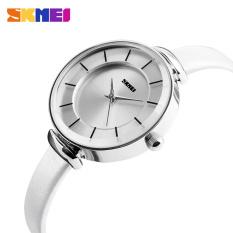 SKMEI Women Fashion Casual Leather Strap Women's Quartz Watches Luxury Waterproof Ladies Retro Dress Wristwatches (Silver Case-White)