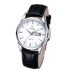 Skmei Wr8801B Mens Fashion Leather Strap Waterproof Quartz Watch Black (Intl)