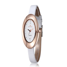 SKONE Ladies Watches Women Rhinestones Watches Oval Shape Dial Leather Band Fashion Wristwatches (Intl)