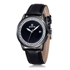 SKONE New Design Brand Fashion Quartz Leatehr Strap Watch For Women Ladies Casual Watch with Rhinestone Wristwatch-Black