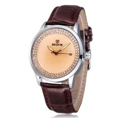 SKONE New Design Brand Fashion Quartz Leatehr Strap Watch For Women Ladies Casual Watch with Rhinestone Wristwatch-coffee