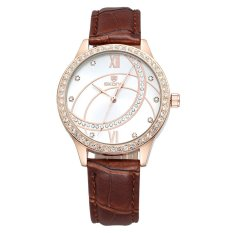 Skone Rome Style Rhinestone Rose Gold Case PU Leather Straps Watch Women Luxury Brand Fashion Casual Watches Relogio Feminino?Coffee