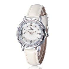 SKONE Vintage Rome Style Rhinestone Rose Gold Watch Women Luxury Brand Leather Straps Quartz Watches Lady Fashion Casual Hours-white