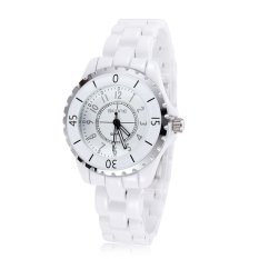 SKONE Women Dress Wathes White Ceramic Women Watch Luminous Analog Quartz Casual Watches- Silver