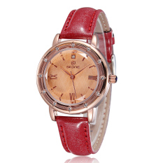 Skone Women Roman Number Gold & Silver Dial Watch Fashion Rhinestones Hands Quartz Watch Red (Intl)