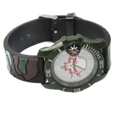 Skull Camo Style Quartz Wrist Analog Watch Timepiece with Silicone Band Compass