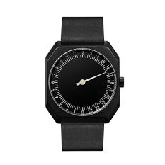 Slow Jo 24 - Swiss Made One-hand 24 Hour Watch - Black With Black Leather Band (Intl)