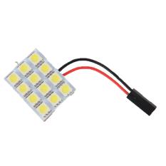 SMD 5050 SMD Pure Panel T10 BA9S Adaptors Festoon Car 12 LED 1.23W (White) (Intl)