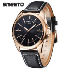 Smeeto Vintage 1618 Jam Tangan Pria Wanita Fashion Waterproof Analog Quartz Men Lady Watch - Black Strap Black Dial