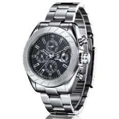 Perfect IK Apa Qi Automatic Mechanical Watch Male Steel Business Watch Men Watch Multifunction Watch 98438G (Black) - Intl