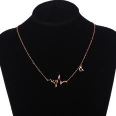 Sporter EKG Heart Beat Necklaces Charm Alloy Clavicle Valentine Gold (Intl)