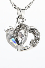 Sporter Heart Necklace Silver Plated Pendant Crystal White