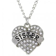 Sporter New Crystal Love Heart Pendant Chain Necklace Fashion Xmas Gifts SISTER