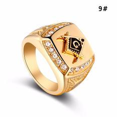 Stainless Steel Freemason Ring CZ Diamond Ring Men Gold Masonic Ring - intl