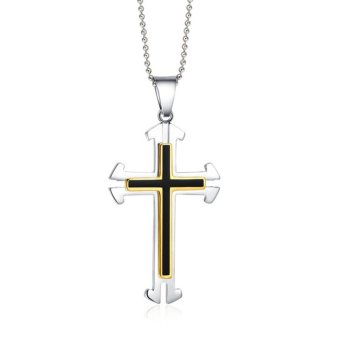 Stainless Steel Gold Plated Religion Jesus Cross Pendant (Silver)