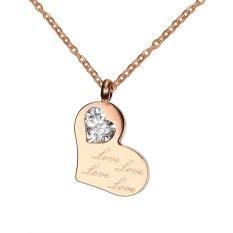 Stainless Steel IP Rose Gold Love Heart Shape White CZ Pendant Necklace For Women Teen Girls Gift (Intl)