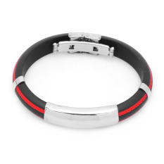 Stainless Steel Pressure Reduction Magnetic Bracelets Bangles - Black + Red (Intl)