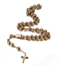 Stainless Steel Rosary Beads Catholic Crucifix Long Chain Cross Necklace, Gold (Intl)