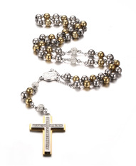 Stainless Steel Rosary Beads Catholic Long Chain Cross Necklace, Gold And Silver