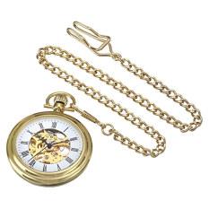 Stuhrling Original Men's 6053.33333 Vintage Mechanical Skeleton 23K Gold Plated Pocket Watch (Intl)