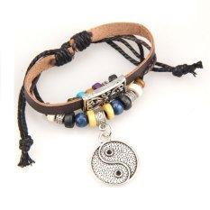 Stylish Eight Diagrams Pendant Beads Braid Bracelet Unisex String Bangle (Intl)