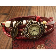 Stylish Woman Lady Weave Wrap Around Leather Bracelet Quartz Wrist Watch