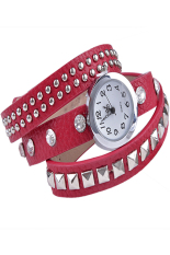 Sunwonder Women Retro Fashion Rivet Synthetic Leather Strap Bracelet Watch (Red) (Intl)