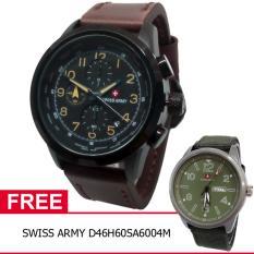 Swiss Army BOGOF D47H355SA4074MCKT Chronograph Elegant Jam Tangan Pria Leather Strap + Gratis Swiss Army D46H60SA6004M