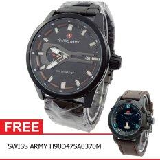 Swiss Army BOGOF H230D48SA7415MHTMO Crhono Second Jam Tangan Pria Stainless Steel Back (Hitam) + Gratis Swiss Army H90D47SA0370M