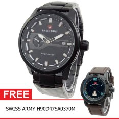 Swiss Army BOGOF H230D48SA7415MHTMP Crhono Second Crhono Second Jam Tangan Pria Stainless Steel Back (Hitam) + Gratis Swiss Army H90D47SA0370M