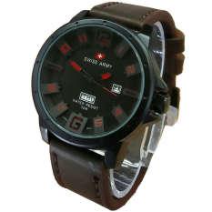 Swiss Army Casual Mens D46H100SA378MCKMLP Daydate Jam Tangan Pria Leather Strap (Cokelat)