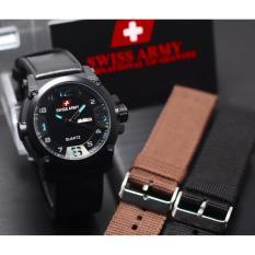 Home Swiss Army Dual Time Jam Tangan Pria Leather Strap Coklat Sa 83 .
