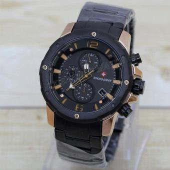 Swiss Army Crono Time - Jam Tangan Pria - Stainless Steel -SA-H-77467 D (Black)