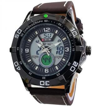 Swiss Army Dual Time Jam Tangan Pria - Letaher Strap - Coklat SA 83 DB
