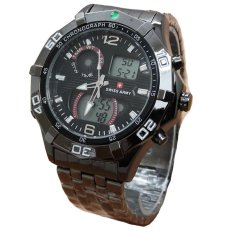 Swiss Army Dual Time - Jam Tangan Pria - Stainless Steel - SA 077 Black