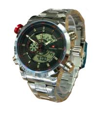 Swiss Army Dual Time SA1502G Jam Tangan Pria - Dual Time - Full Stainless - Silver Merah