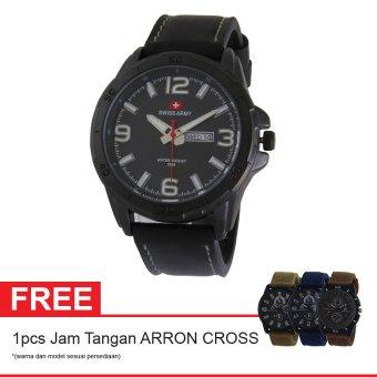Swiss Army Elegant Jam Tangan Pria - Kulit - Hitam - SA 5022BOGOF FB + Gratis Jam Tangan Arron Cross