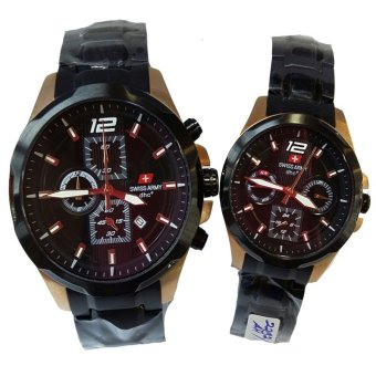 Swiss army - Jam Tangan Couple - Stainless Steel Strap - SA 2292 Black Gold