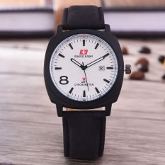 Swiss Army Jam Tangan Pria Body Black White Dial Black Leather Strap .
